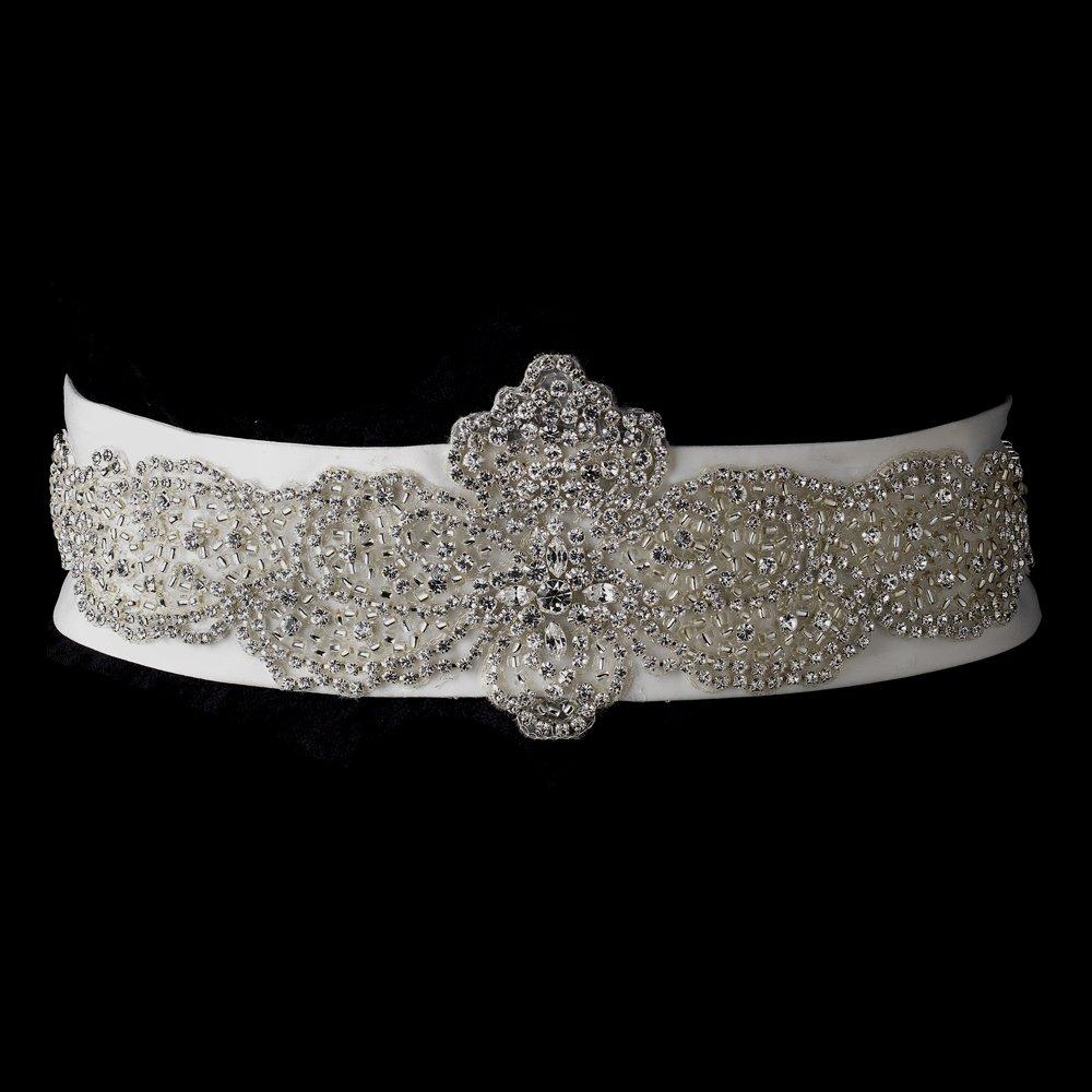 Rhinestone & Glass Bead Sheer Organza Floral Wedding Bridal Sash Belt - Ivory by Fairytale Bridal Accessories