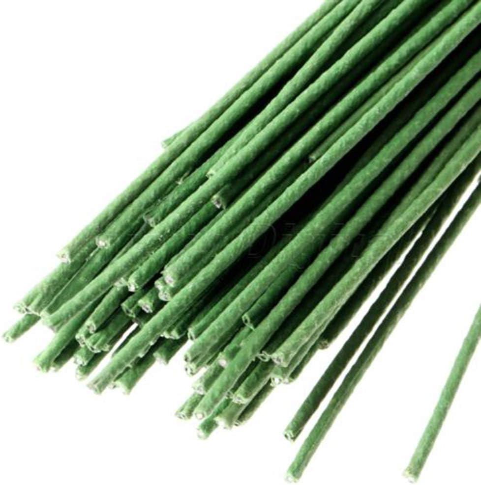 Niu Mang - Alambre de hierro envuelto en cinta para flores artificiales, 60 unidades, color verde