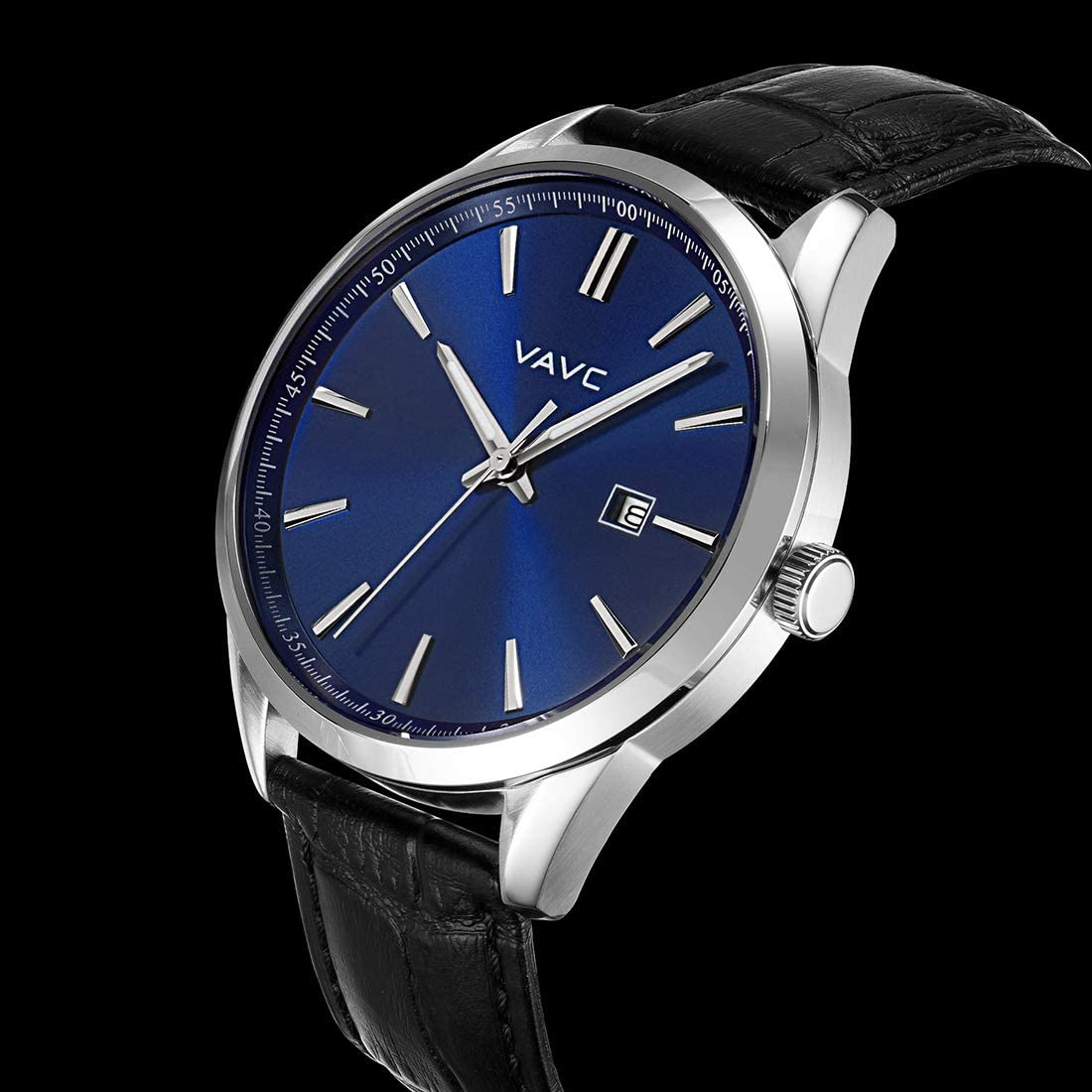 VAVC Men s Business Analog Quartz Wrist Watch with Black Leather Band Blue Dial and Date Function
