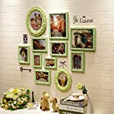 12 Multiple Picture Frames Wall Living Room Bedroom Sofa Background Wall French Town Photo Wall Creative Combination Frame Wall ( Color : Green )