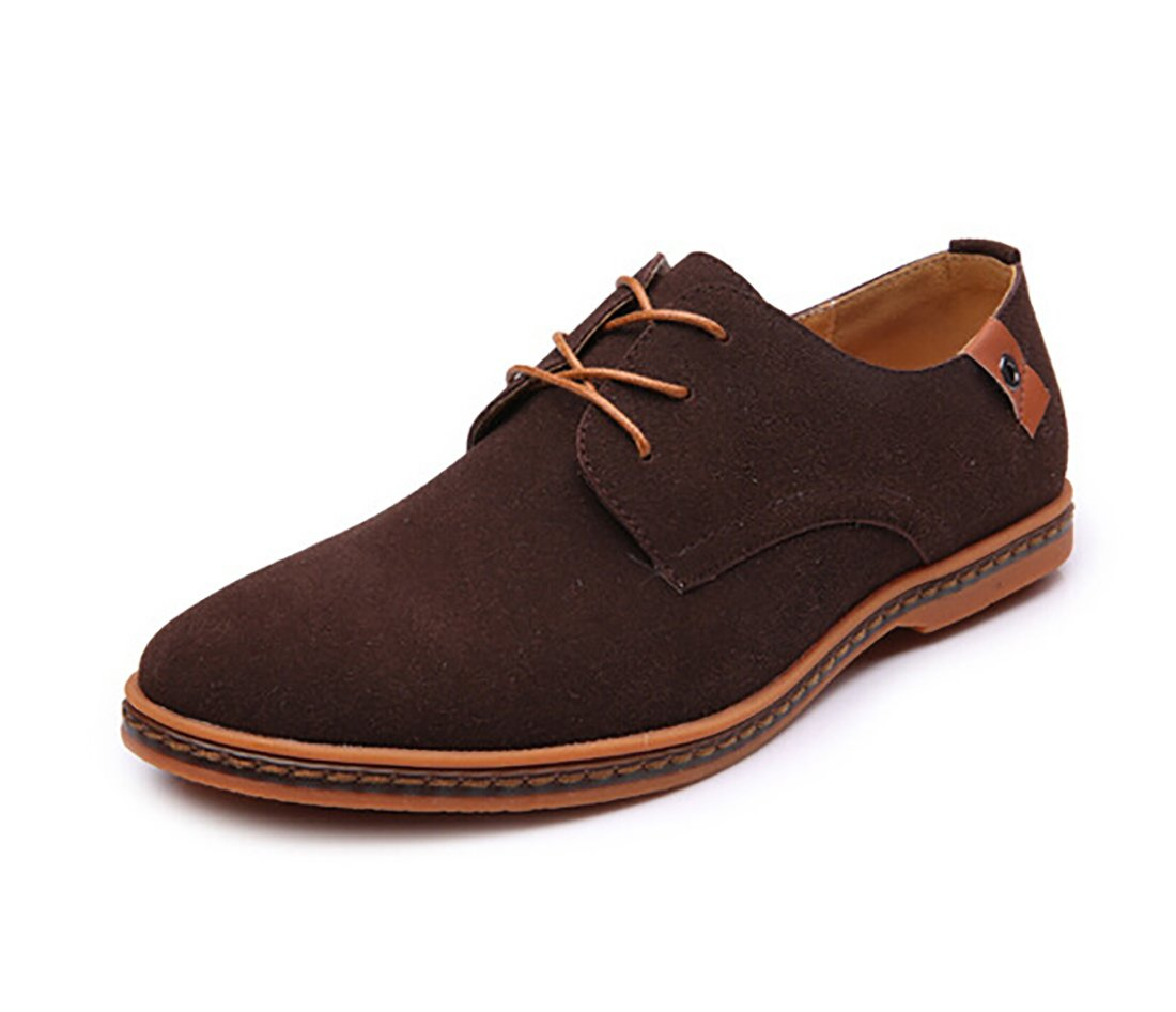 Newest 2018 Fashion Casual Genuine Leather Oxford Classic Lace Up Urban Shoes (9, Brown)