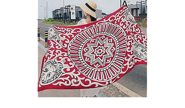PLYY Toalla de Playa Pañuelo Protector Solar Pañuelo de Mujer de Doble Uso Primavera y Otoño Pañuelos de Turismo de Estilo étnico Tapicería Interior, ...