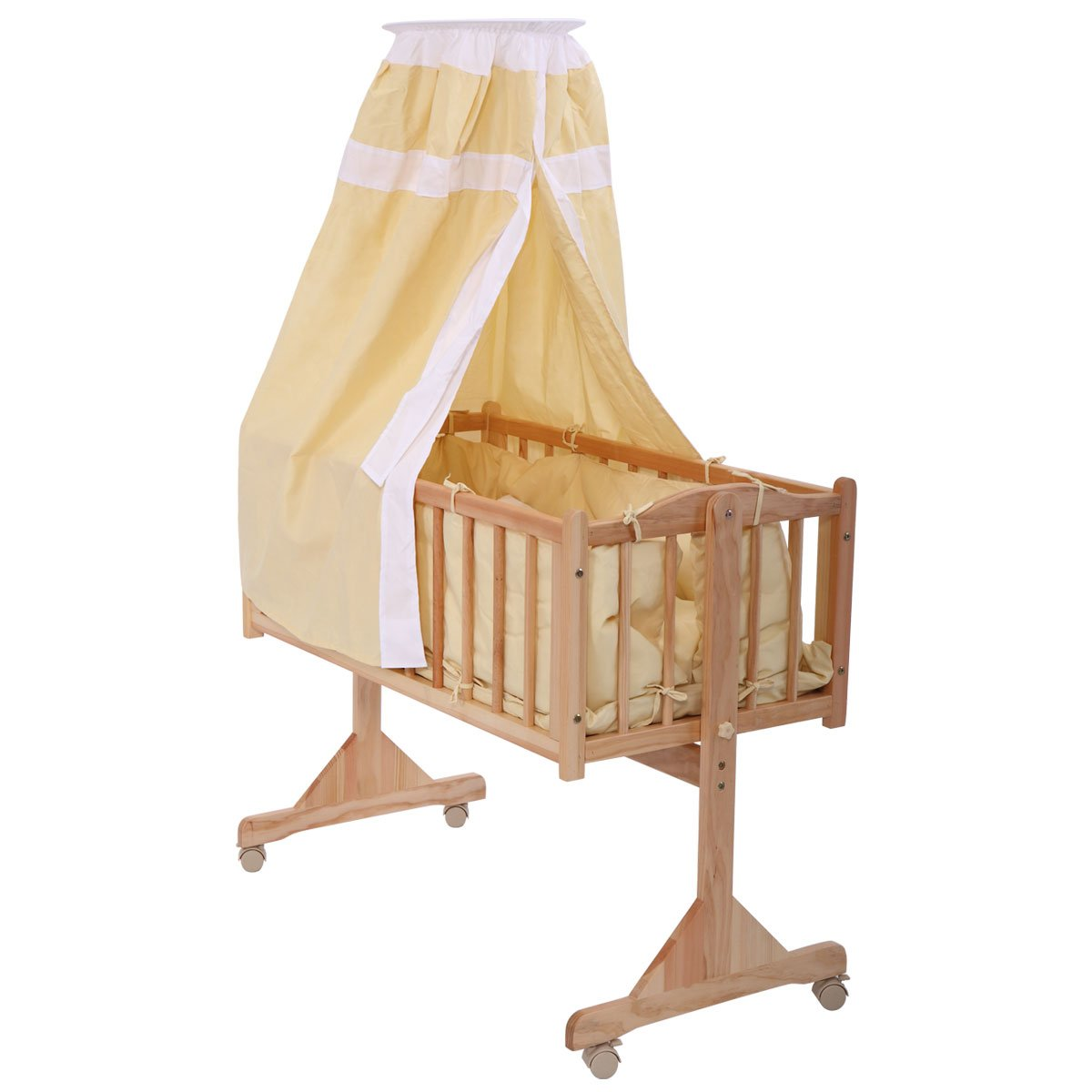 JAXPETY Wood Rocking Cradle,Gliding Bassinet with Canopy Bedding- Yellow