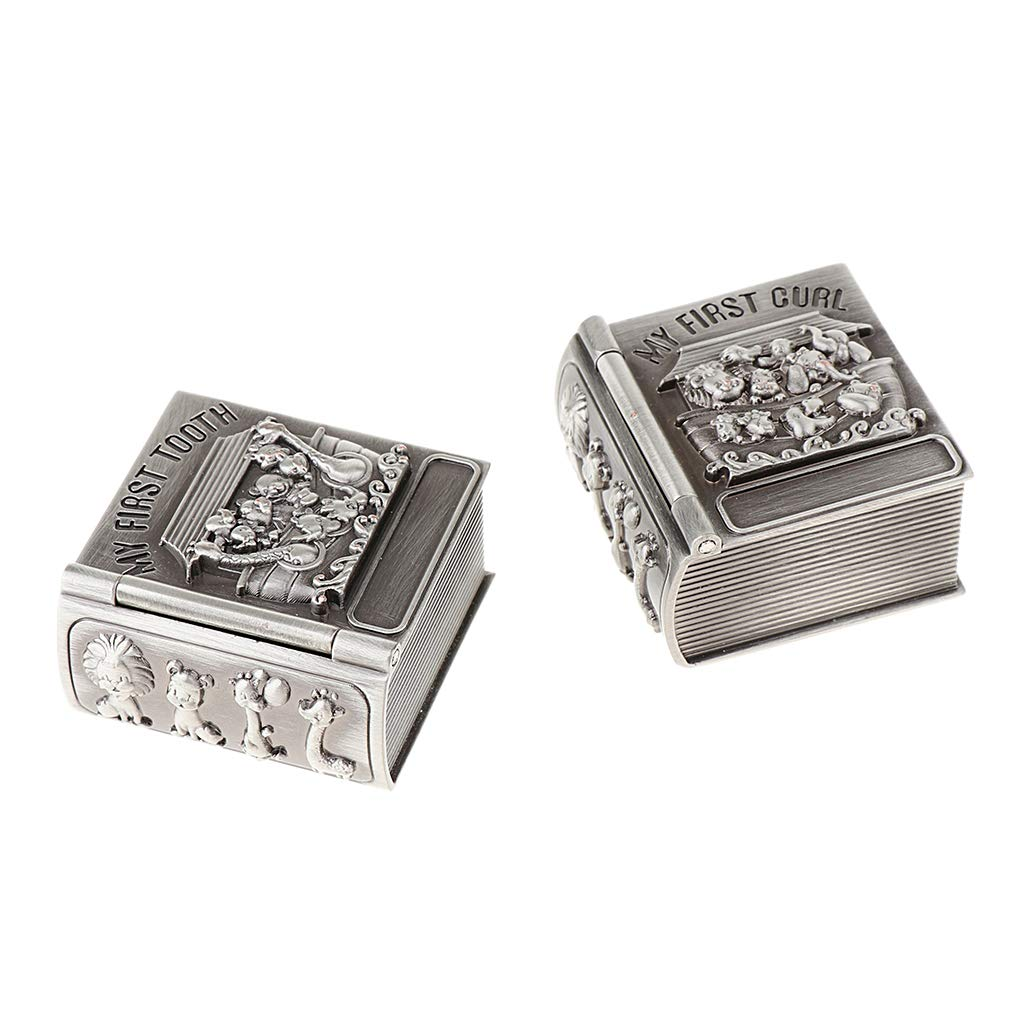 T TOOYFUL Vintage Silver Alloy Metal Box First Curl and Tooth Keepsake Box Set