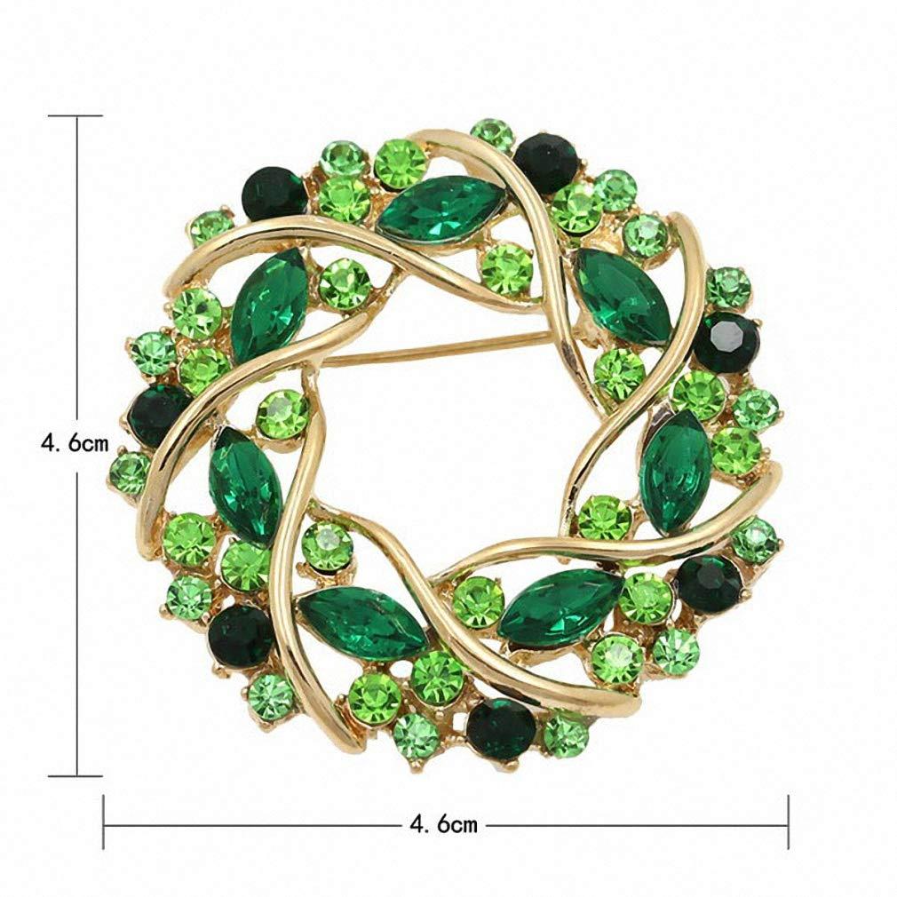 Jana Winkle Women Crystal Rhinestone Garland Brooch in 5 Colors Brooch Wedding Accessories Green