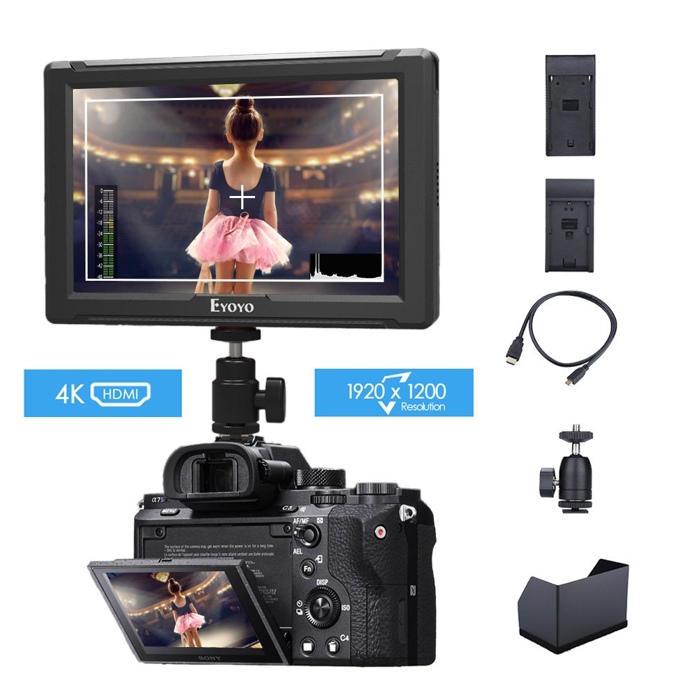 Eyoyo E7S 7 Inch On Camera Field Monitor 1920x1200 IPS Display Supports 4K HDMI Input Loop Output Camera-top Screen For Sony Canon DSLR Camera with F970 LP-E6 Battery Plate by Eyoyo