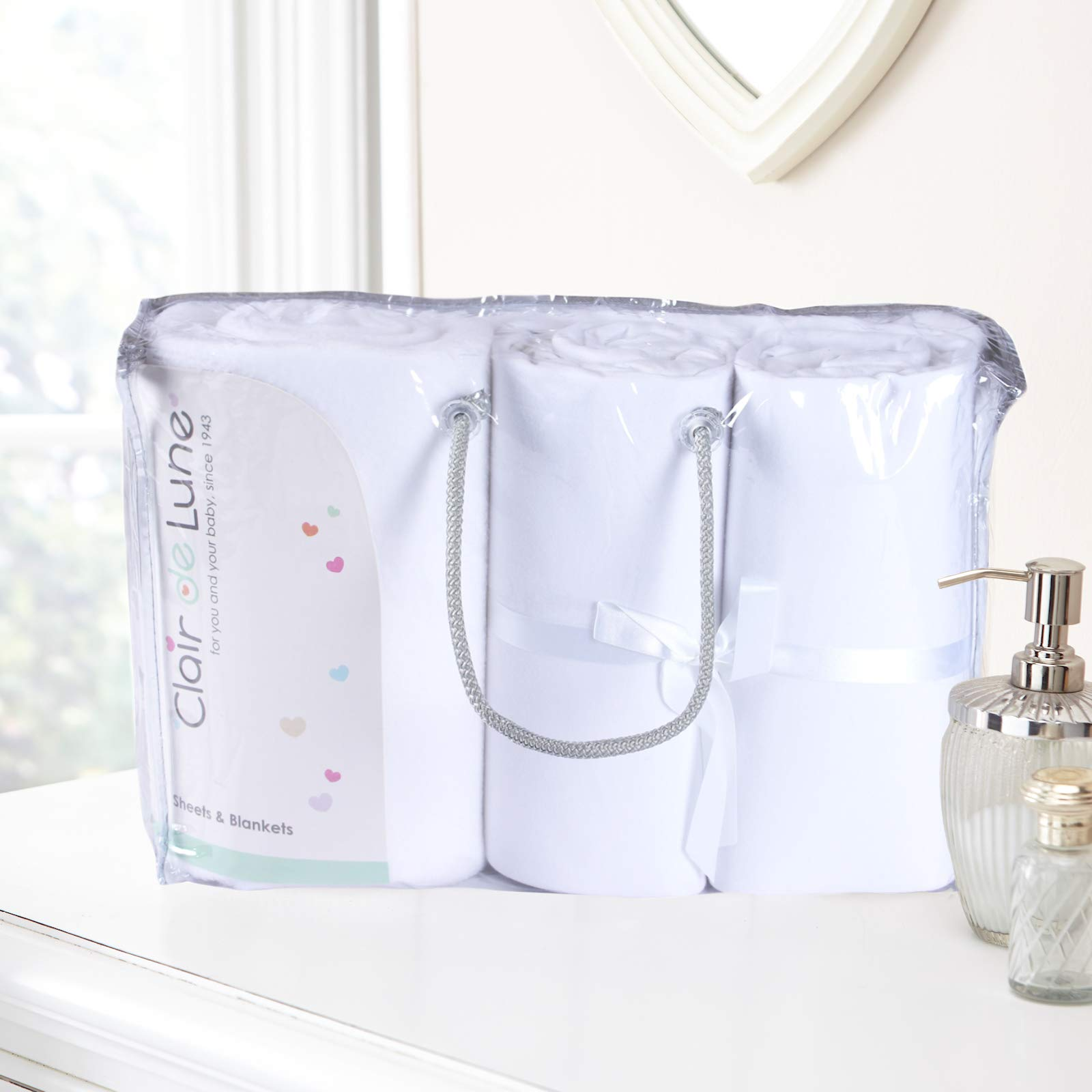 Clair De Lune 3 Piece Baby Moses Basket Bedding Bale Gift Set (White)