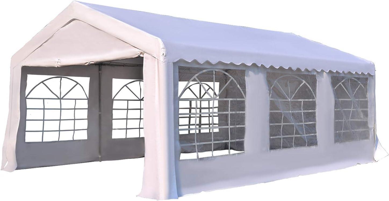 Outsunny Carpa de Jardín Cochera Gazebo 6x4m Pergola Cenador Pabellón 4 Paneles Laterales 6 Ventanas para Fiesta Eventos Bodas Acero PE Blanco
