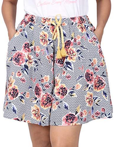 B STORIES Women's Viscose Printed Shorts (Pack of 1)