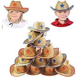 Funny Party Hats Cowboy Party Hats - Dozen Hats - Straw Hats for Kids - Cowboy Hats Bulk - Cowboy Party Favors
