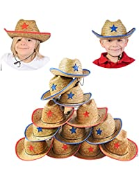 Cowboy Party hats - Dozen Hats - Straw Hats for Kids - Cowboy Hats Bulk - Cowboy Party Favors Funny Party Hats