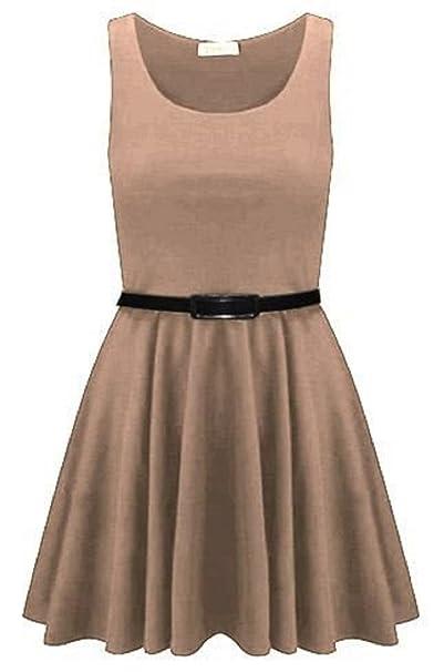 Momo Fashions Damen Kleid Beige Stone