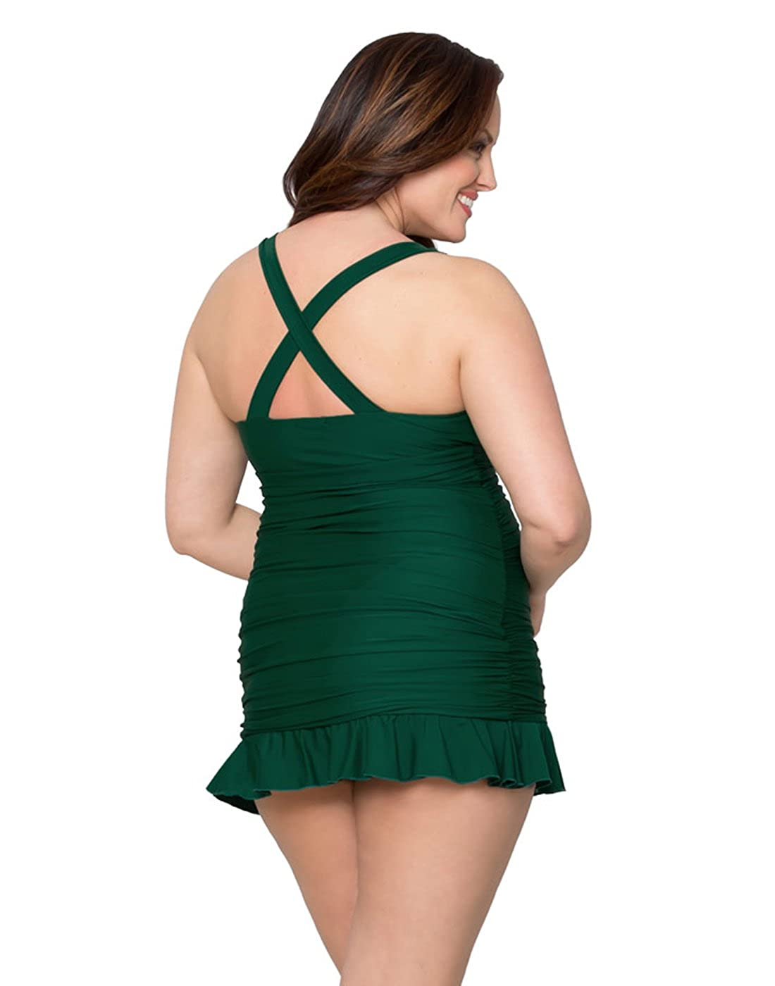 f9739c5e88b Kiyonna Women s Plus Size Kelly Swimsuit 0X Emerald at Amazon Women s  Clothing store  Fashion One Piece Swimsuits
