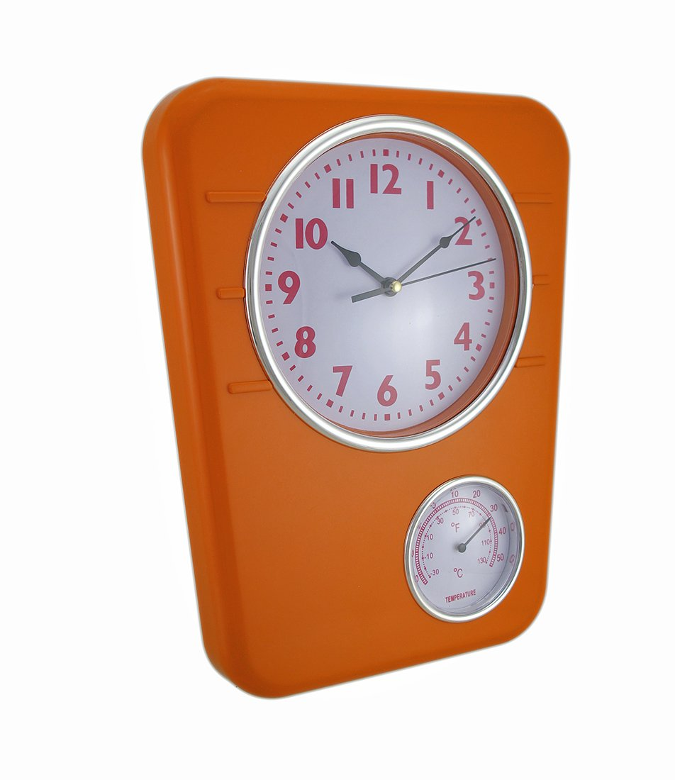 Zeckos Plastic Outdoor Clocks Bright Orange Wall Clock With Temperature Display 9.75 X 12.5 X 1.5 Inches Orange