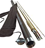 Headwaters Bamboo Bamboo Fly Rod | Deluxe Series By 2-piece with Extra Tip | Classic Bamboo Fly Fishing Rod Handplaned of Tonkin Bamboo using Six-Strip Construction | Choose from Six Sizes
