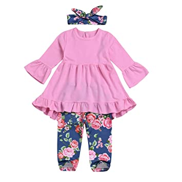 Amazon Toddler Kids Baby Girl Clothes Set Horn Sleeves Solid