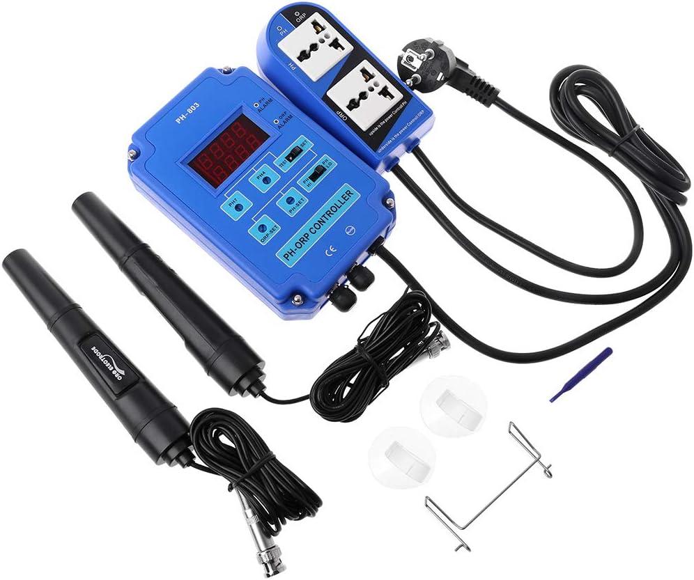 Xiuinserty Kits de prueba digital PH ORP Redox 2 en 1 controlador, monitor con control de relé de potencia de salida, sonda de electrodo BNC para acuarios, plantas hidropónicas, estanques, agricultura