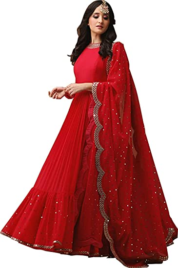 8642edc459 Everwey Women's Heavy Net Embroidered Semi-Stitched Lehenga Choli  (NF-mirror gown black) (red): Amazon.in: Clothing & Accessories