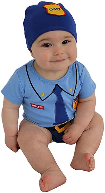 Sozo Unisex-Baby Newborn Police Bodysuit and Cap Set