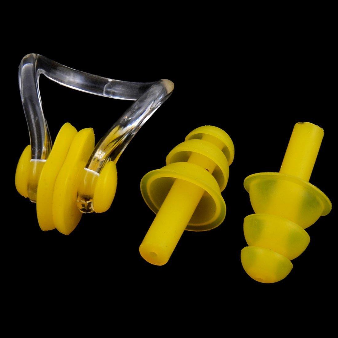 DealMux silicona de seta deporte de la natación Protección tapones para los oídos clip de la nariz 2 Sets Amarillo: Amazon.es: Deportes y aire libre