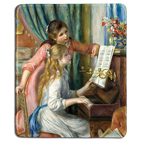 dealzEpic - Art Mousepad - Natural Rubber Mouse Pad with Famous Fine Art Painting of Two Young Girls at The Piano by Auguste Renoir - Stitched Edges - 9.5x7.9 inches - Girl Art Mouse Pad
