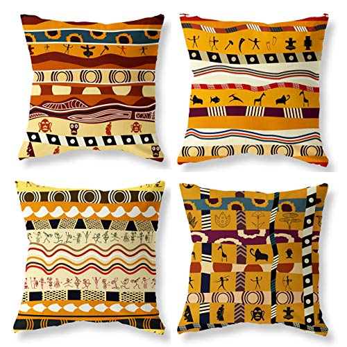 (Joyce Christmas Decorative Ethnic African Indians Style Holiday Throw Pillow Case Covers 18x18 - Thanksgiving-Linen Cotton-Winter Farmhouse Throw Pillow Covers Case Set of 4)