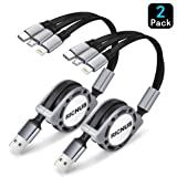 2 Pack RICNUS 4Ft 3.0A Retractable Multi USB Charger Cord, Multiple Charging Cable 3-in-1 USB Charge Cord with Phone/Type C/Micro USB Connector for Phone/Galaxy S9/S8/S7/Huawei and More (Gray) (Color: Black, Tamaño: 4 feet)