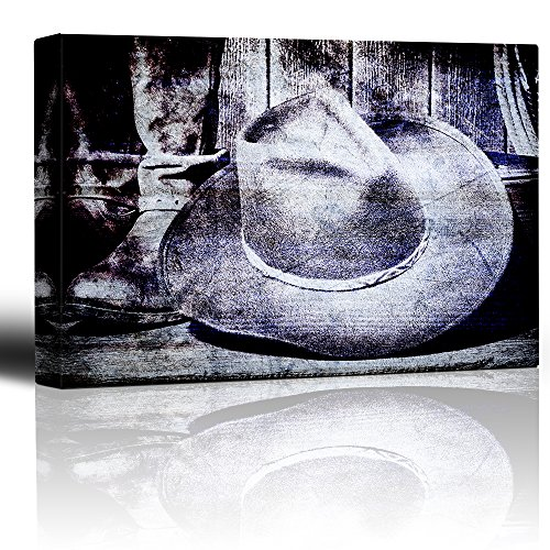 Cowboy Hat and Boots on a Vintage Wood Grain Rustic Setting Showing Vintage American Country Western Culture