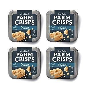 ParmCrisps Original, 3 Ounce (Pack of 4), 100% Cheese Crisps, Keto Friendly, Gluten Free, Sugar Free