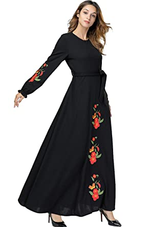 9110858dce UAime Muslim Dress for Women Kaftan Long Sleeve Casual Maxi Dress Dubai  Muslim Abaya Long Gown
