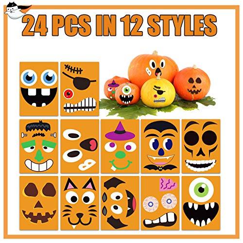 Funnlot 24Sheet Pumpkin Decorating Stickers Halloween Face Stickers Halloween Pumpkin Stickers Jack O Lantern Stickers Pumpkin Stickers for Kids Halloween Party Favors