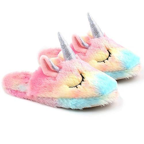 Unicornio Zapatillas para Adultos, Calentador de interiores Arco Iris Suave Slip-On Cartoon Slipper