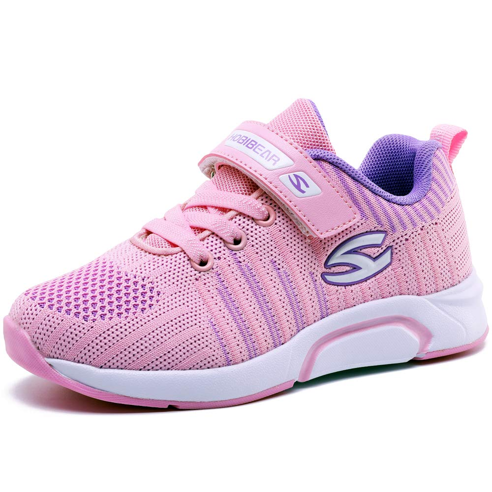 Kids Trainers Boys Girls Sneakers Sports Running Walking Fitness Shoes for Outdoor Pink 34