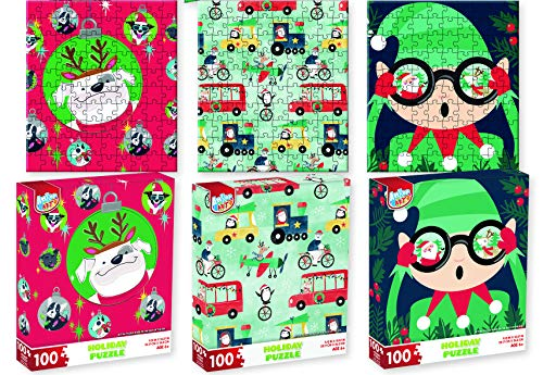Christmas Jigsaw Puzzle Set - Three 100-Piece Puzzles - 3 Separate Holiday Themed Puzzles Elf, Santa, Penguin, Dogs Xmas Tree Jigsaw Puzzles - Best Kids Stocking Stuffer