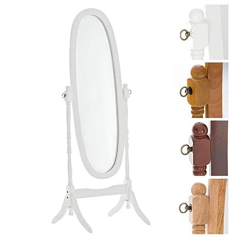 CLP Miroir sur Pied CORA Ovale sur Pied avec Cadre en Bois - Miroir  Cosmétique Inclinable - Taille 150 x 60 cm - Miroir de Chambre - Couleurs  au ...