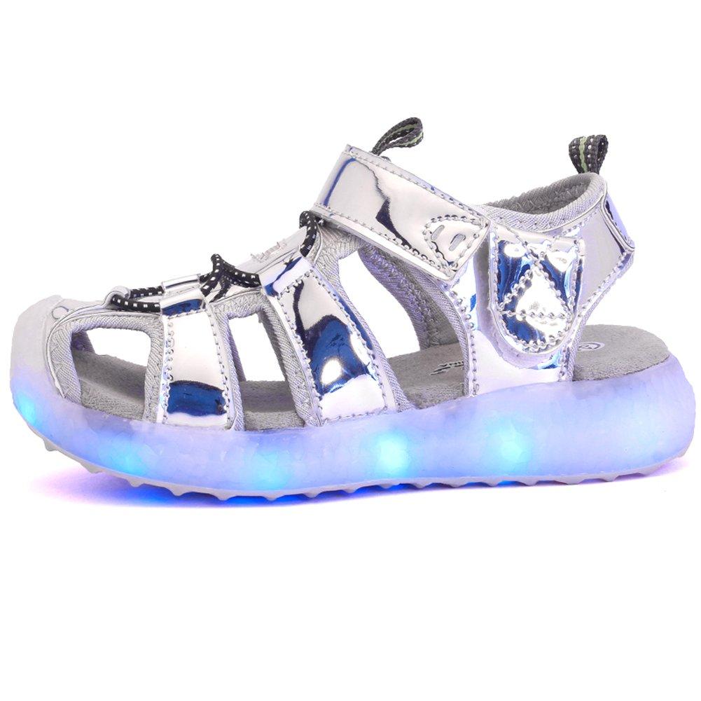Z.SUO Infiammante con Scarpe LED di Ricarica USB,Sandali Bambina Bambino Unisex bambini(36 EU,Oro)
