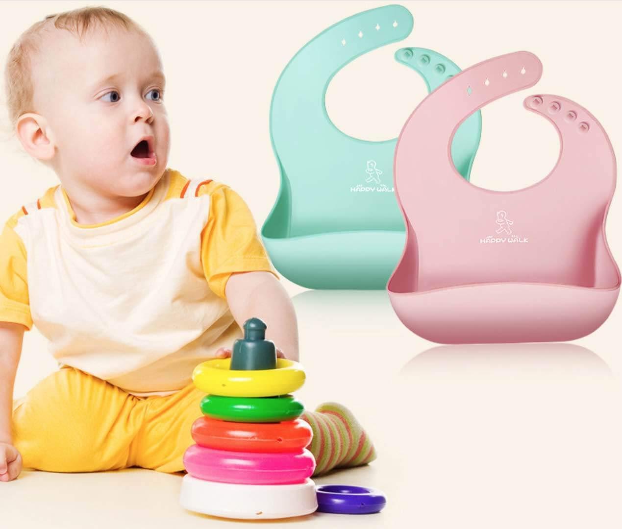 Uarashi Babero impermeable para bebés Conjunto de silicona suave de 2 bebés/Niños/Niñito/Baberos de niños Bacterias resistentes fácilmente toallitas limpias ...