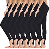 GAYHAY 7 Pack High Waisted Leggings for Women - Soft Slim Tummy Control Pants for Yoga Workout Cycling Running