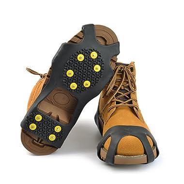 Diamondo 10-Stud Universal Ice No Slip Snow Shoe Spikes Grips Cleats Crampons (L(LW=210125mm) USA(8-11))