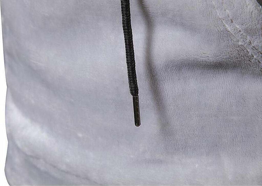 MK988 Mens Coral Velvet Solid Pocket Drawstring Pullover Hooded Sweatshirt