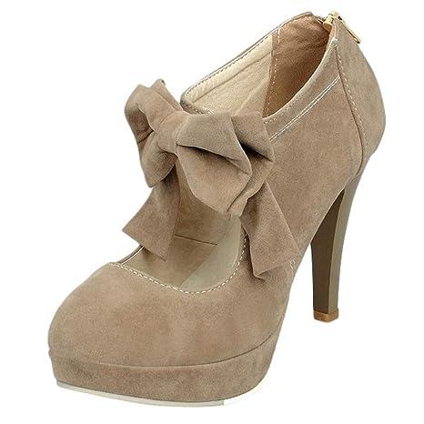Mujer y Niña otoño fashion Botines,Sonnena ❤ Zapatos de mujer color sólido Zapatos bowknot flock hasta los tobillos Botas con cremallera zapatos con ...