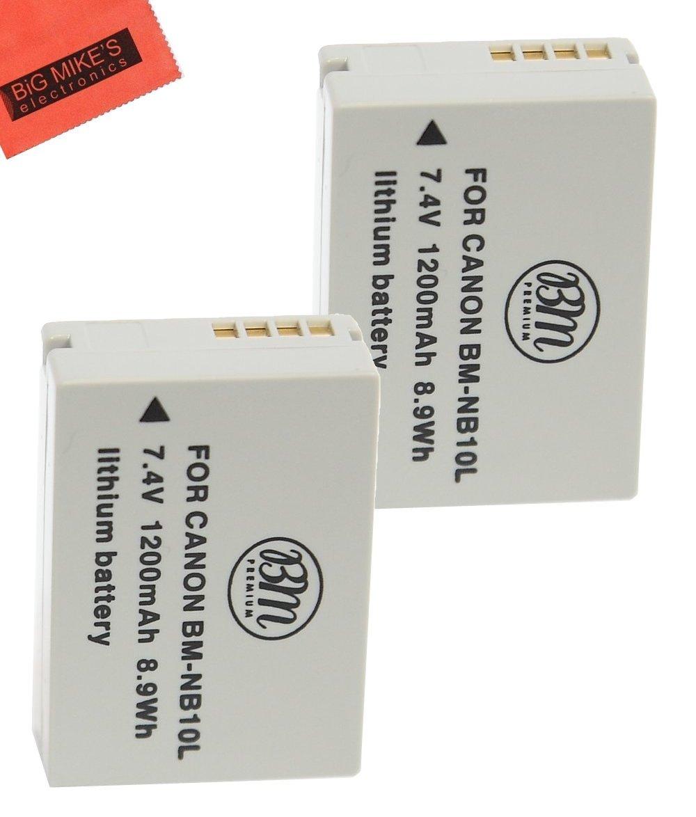 BM Premium (2 Pack) NB-10L Battery for Canon PowerShot G1 X, G3-X, G15, G16, SX40 HS, SX50 HS, SX60 HS Digital Camera BIg Mike' s BM-NB10LK2