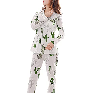 150a13c9aee5 GWELL Women s Thin Cotton Sleepwear Pajama Set Cactus Cardigan Nightgown  Long Sleeve Shirt Pants Suit for 4 Seasons