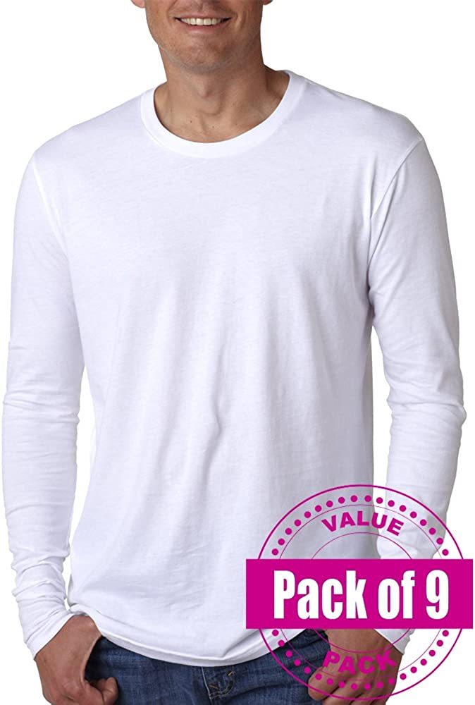 9 Pack Next Level Mens Premium Fitted Long-Sleeve Crew N3601-White