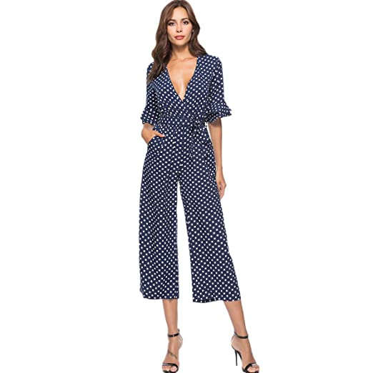 55b60a14e06 Image Unavailable. Image not available for. Color  REFURBISHHOUSE Autumn  Women Polka Dot Jumpsuit V Neck ...