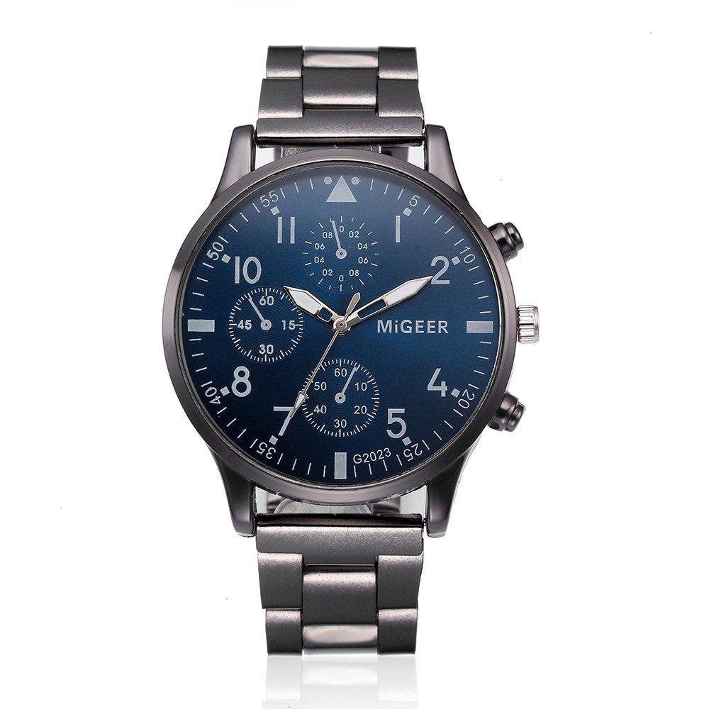 Reloj Hombre de Analógico con Correa en Acero Inoxidable G2023 (B): Amazon.es: Relojes
