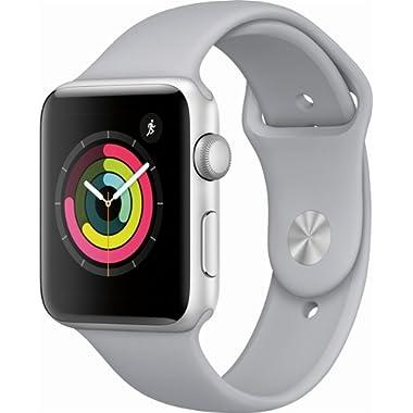 Apple Watch Series 3 42mm Smartwatch (GPS Only, Silver Aluminum Case, Fog Sport Band) (Renewed)