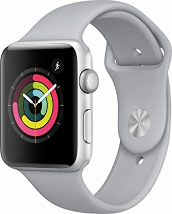 Apple Watch Series 3 42mm Smartwatch (GPS Only, Silver Aluminum Case, Fog Sport Band) (Renewed)