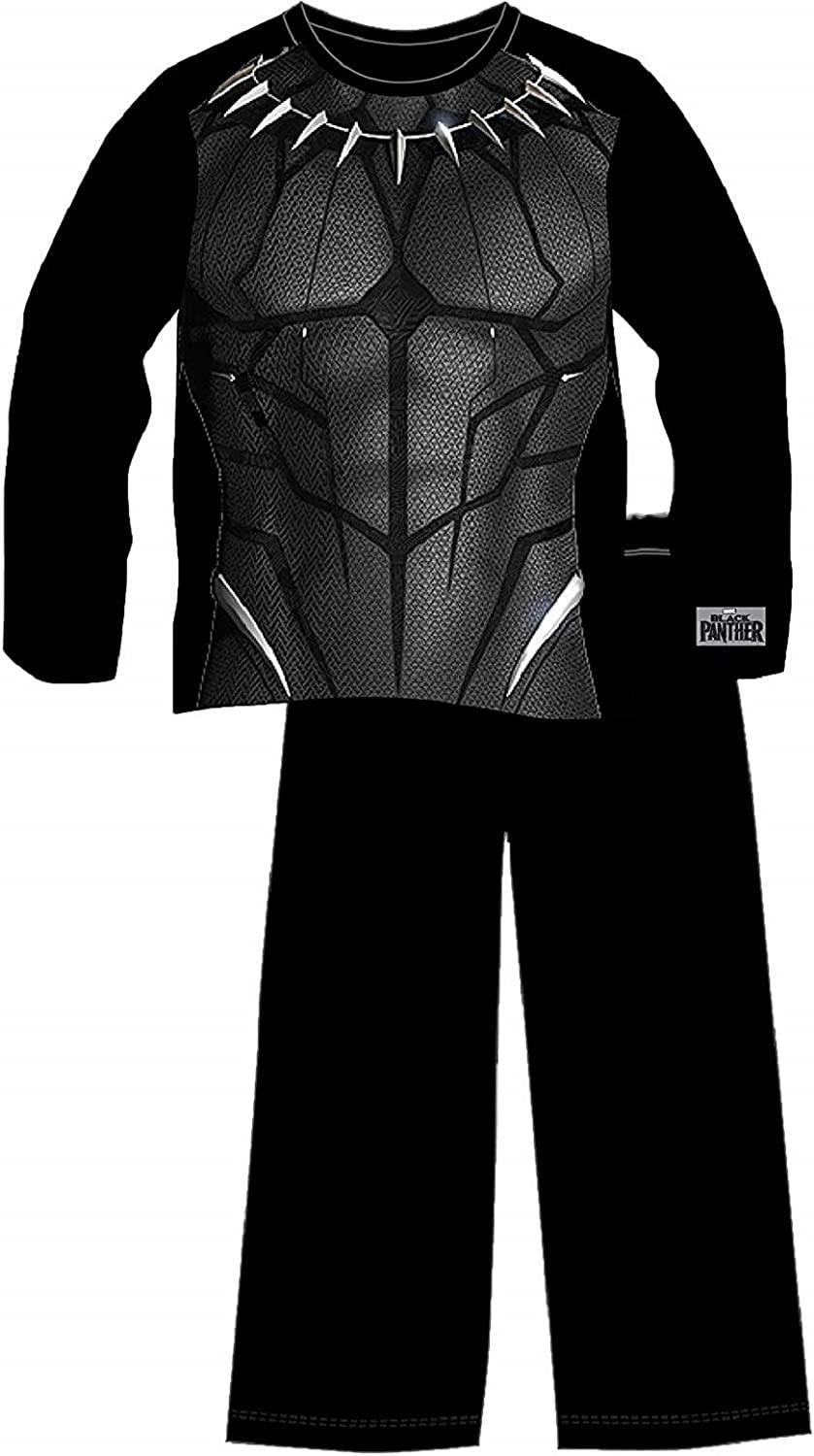 Marvel Black Panther Pyjamas for Boys Long Sleeve Clothing with Logo and Superhero Costume Printed Top Children Pyjama Set in Size Age 5-14 Wear As Kids Pjs Or Lounge Pants