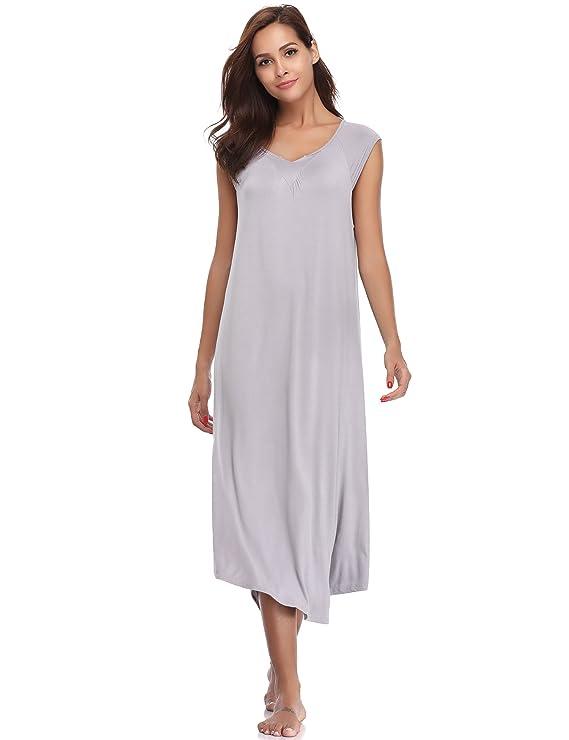Hawiton Ropa para Dormir Premamá Algodon Pijama Mujer Verano Largo Talla Grande Camisones Embarazada sin Mangas Suelto: Amazon.es: Ropa y accesorios